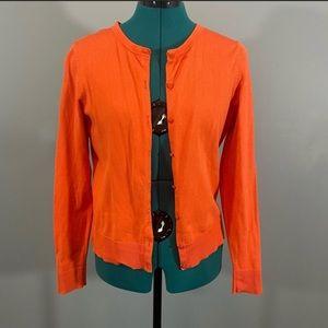 Women's Orange Long Sleeve Button Front Cardigan